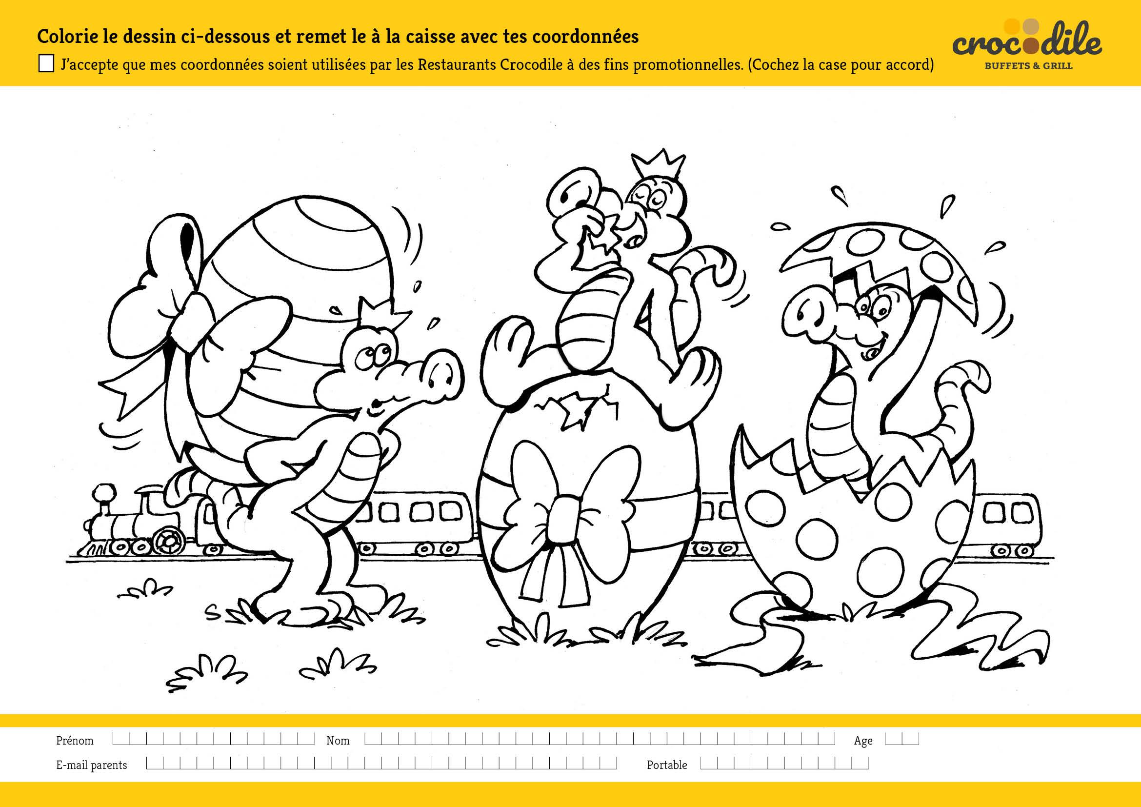 Coloriage De Paques Avec Prenom.Participez Au Concours De Coloriage Restaurants Crocodile